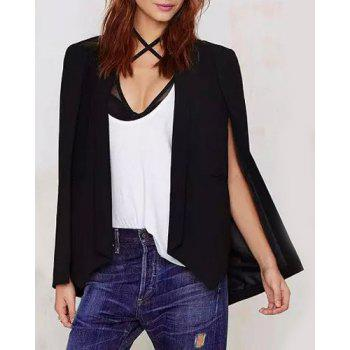 Buy Fashionable Long Sleeve Shawl Collar Solid Color Women's Cape Blazer BLACK