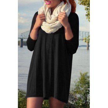 Casual Women's Long Sleeve Loose-Fitting Solid Color Dress