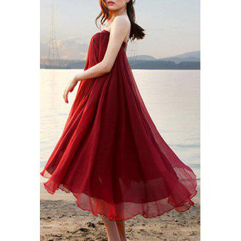 Chic Elastic Waist Chiffon Pure Color Women's Maxi Skirt - WINE RED WINE RED
