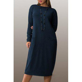 Long Sleeve Scoop Neck Shift Dress