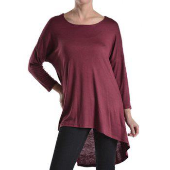 Simple Candy Color Scoop Neck High Low Hem Long Sleeve T-Shirt For Women