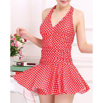 Stylish Women's V-Neck Halter Polka Dot  One-Piece Swimsuit - RED 4XL