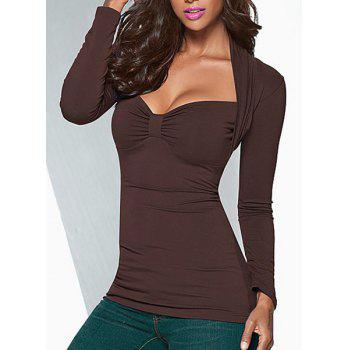 Sexy Women's Sweetheart Neck Long Sleeve Ruched T-Shirt