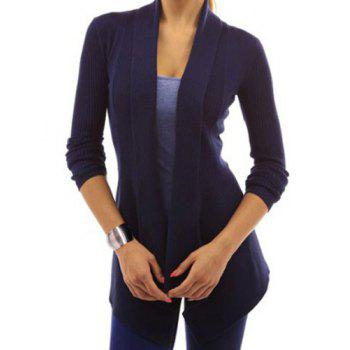 Stylish Long Sleeve Shawl Collar Slimming Pure Color Women's Cardigan