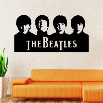 High Quality Beatles Portraits Shape Removeable Waterproof Background Wall Sticker - BLACK