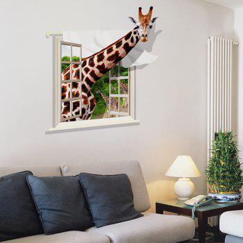 Good Quality Giraffe Pattern Window Shape Removeable 3D Wall Sticker - COLORMIX