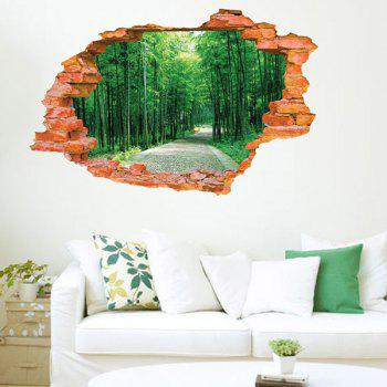 High Quality Broken Wall Tree-Lined Trail Pattern Removeable 3D Wall Sticker