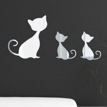 High Quality Removeable Kitten Shape DIY 3D Mirror Wall Sticker