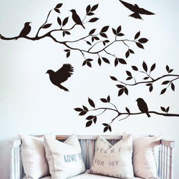 Modern Birds Tree Branches Design Solid Color Wall Sticker For Home
