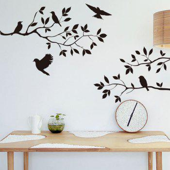 Modern Birds Tree Branches Design Solid Color Wall Sticker For Home - BLACK