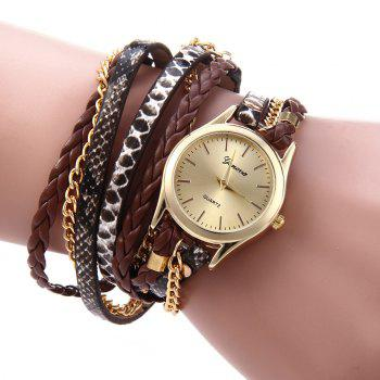 Women Woven Bracelet Quartz Watch Snake Texture Leather Chain