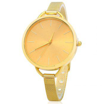 Women Quartz Watch Slim Stainless Steel Mesh Band Big Round Dial