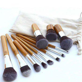 Professional 11 Pcs Nylon Makeup Brushes Set with Gunny Bag
