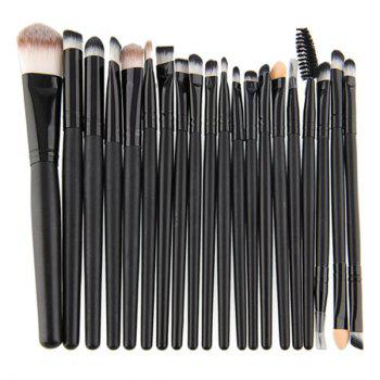 Professional 20 Pcs Nylon Eye Makeup Brushes Set - BLACK
