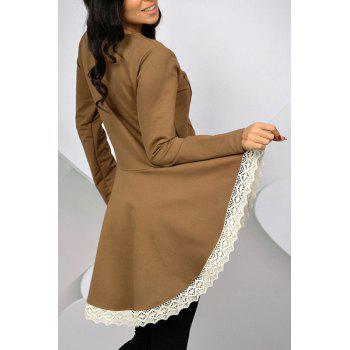Casual Long Sleeve Lace Hem Swallowtail Dress For Women - XL XL