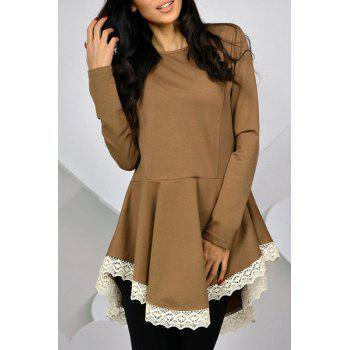Casual Long Sleeve Lace Hem Swallowtail Dress For Women - KHAKI KHAKI