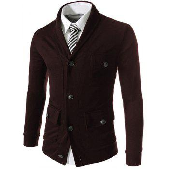 Pockets Embellished Single Breasted Lapel Long Sleeve Cotton Blends Men's Jacket