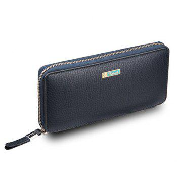 Simple Lichee Pattern and PU Leather Design Clutch Bag For Men - BLUE BLUE