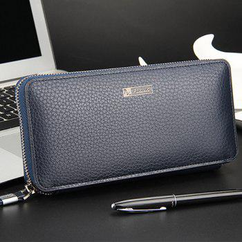 Simple Lichee Pattern and PU Leather Design Clutch Bag For Men -  BLUE