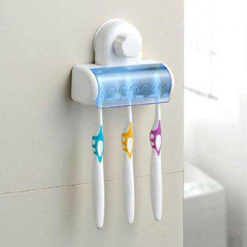 High Quality Strong Wall Sucker Five People Toothbrush Holder - WHITE WHITE