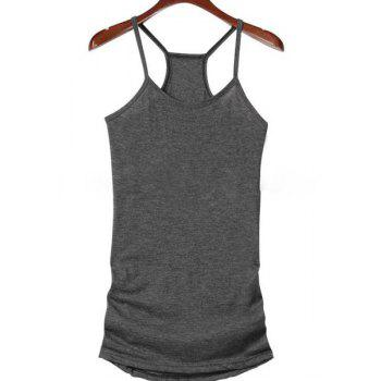 Stylish Half Sleeve Scoop Neck Hollow Out Lace-Up T-Shirt + Solid Color Tank Top Women's Twinset - GRAY 2XL