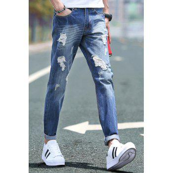 Holes Design Slimming Zipper Fly Narrow Feet Men's Denim Pants - DEEP BLUE 28
