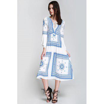 Long Sleeve Printed Romantic Boho Swing Beach Dress - BLUE/WHITE S