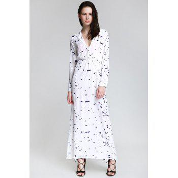 Stylish Shirt Neck Long Sleeve Ink Print Women's Maxi Dress