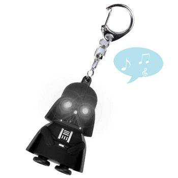 Key Chain Movie Figure Black Knight Darth Vader Key Ring with White Light / Sound - BLACK BLACK