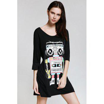 Buy Casual Style Scoop Neck Robot Print 3/4 Sleeve Dress Women BLACK