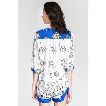Stylish Plunging Neck 3/4 Sleeve Ethnic Print Women's Playsuit - BLUE/WHITE XL