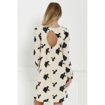 Long Sleeve Floral Embroidered Tunic Dress - BLACK BLACK