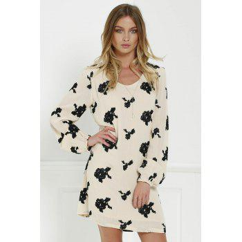 Long Sleeve Floral Embroidered Tunic Dress - BLACK L