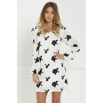 Long Sleeve Floral Embroidered Tunic Dress - S S