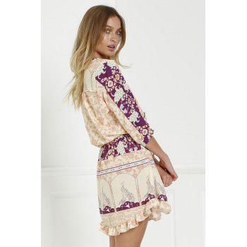 Stylish V-Neck 3/4 Sleeve Floral Print Loose-Fitting Women's Tunic Dress - L L