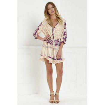 Stylish V-Neck 3/4 Sleeve Floral Print Loose-Fitting Women's Tunic Dress - XL XL