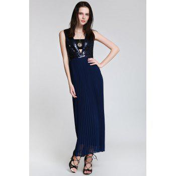 Sexy Style Deep V Neck Sequins Backless Sleeveless Dress For Women - CADETBLUE CADETBLUE