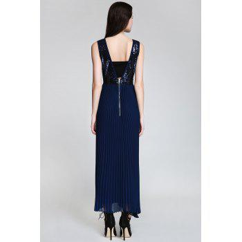 Sexy Style Deep V Neck Sequins Backless Sleeveless Dress For Women - CADETBLUE S