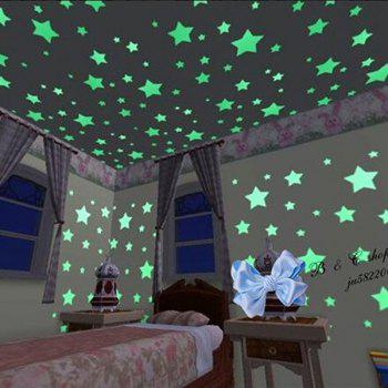 Cute 100 PCS in The Dark Stars Shape Home Glow Wall Stickers