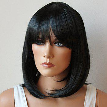 Fashion Medium Synthetic Bob Style Straight Full Bang Natural Black Women's Cosplay Wig