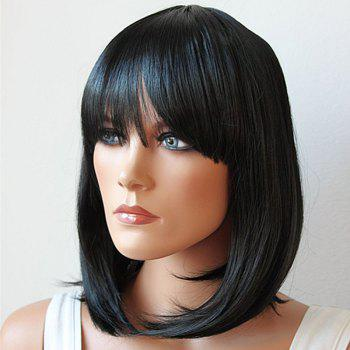 Fashion Medium Synthetic Bob Style Straight Full Bang Natural Black Women's Cosplay Wig - BLACK