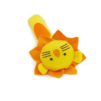 BT2048 Lion Model Handbell Newborn Toy Plush Squeeze Rattle Cute Gift Baby Toy -  YELLOW