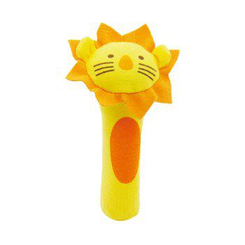 BT2048 Lion Model Handbell Newborn Toy Plush Squeeze Rattle Cute Gift Baby Toy - YELLOW YELLOW