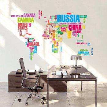 Color Letter World Map Style Removable PVC Wall Stickers Water Resistant Home Art Decals