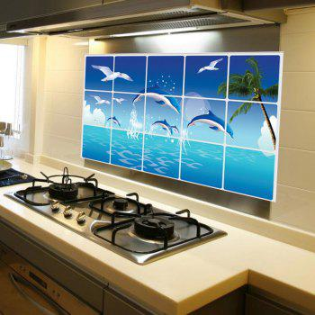 Removable Kitchen Oilproof Wall Stickers with Ocean Style Water Resistant Home Art Decals