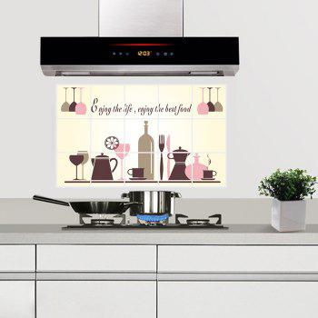 Removable Kitchen Oilproof Wall Stickers with Wine Glass Style Water Resistant Home Art Decals