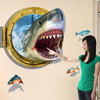3D Shark Style Removable PVC Wall Stickers Water Resistant Home Art Decals