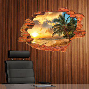 3D Sunset Seascape Style Removable PVC Wall Stickers Water Resistant Home Art Decals