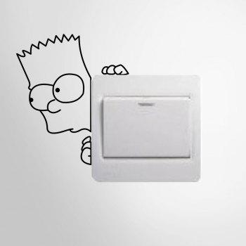 Cartoon Boy Style Creative Switch Wall Sticker Removable Wallpaper Water Resistant Home Art Decals