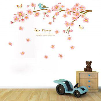 Peach Blossom Bird Style Removable Wall Sticker Water Resistant PVC Wallpaper